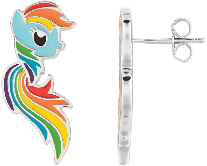 My Little Pony Rainbow Dash Silvertone Mane Stud Earrings