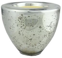 """Northlight 6"""" Decorative Silver Torchiere Shaped Glass Votive Candle Holder with Wax Candle"""