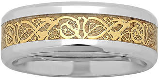 Dragon Optical MODERN BRIDE Personalized Mens Celtic Two-Tone Stainless Steel Wedding Band