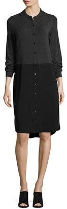 Eileen Fisher Lightweight Colorblock Shirtdress, Charcoal/Black $278 thestylecure.com