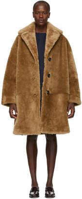 Mansur Gavriel Tan Shearling Classic Coat