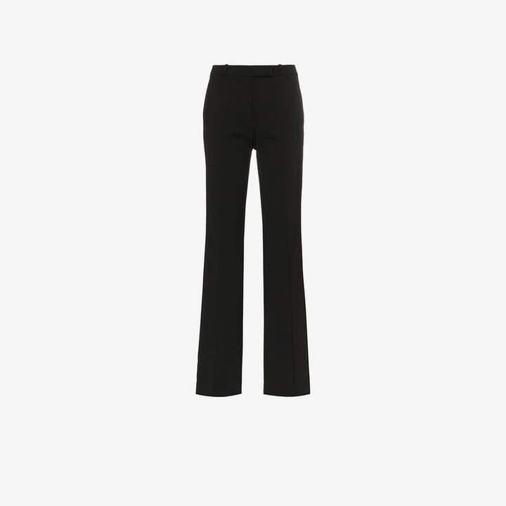 side stripe straight leg wool blend trousers