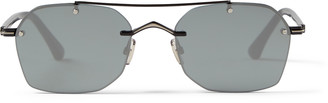 Jimmy Choo KIT Matte Black Titanium and Acetate Square Sunglasses with Grey Silver Mirror Lenses