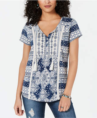 853f11dc3001c6 Style Co. Style   Co Mixed-Print Crochet-Trim Top