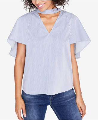 Rachel Roy Striped Flutter-Sleeve Top, Created for Macy's