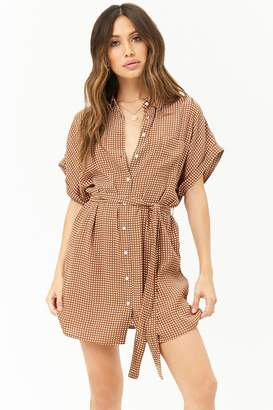 Forever 21 Grid Print Shirt Dress