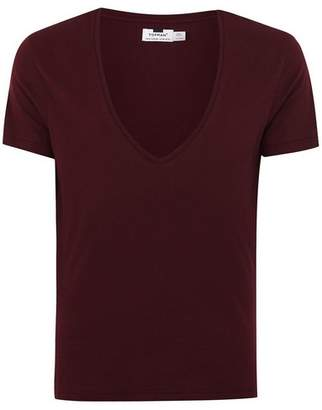 Topman Mens Red Burgundy Low V-Neck T-Shirt