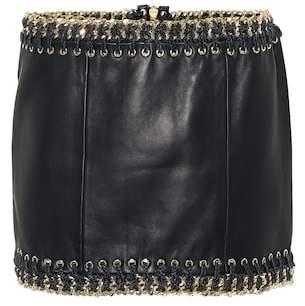 Balmain Leather embellished miniskirt