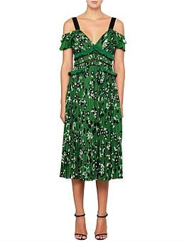 Self-Portrait Cold Shoulder Floral Printed Dress In Green