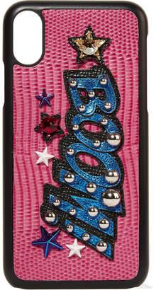 Dolce & Gabbana Embellished Appliquéd Croc-effect Leather Iphone X Case - Pink