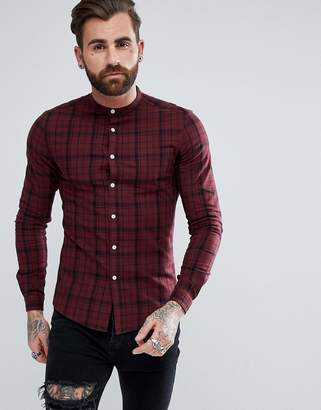 Asos Design DESIGN skinny twill check shirt with grandad collar