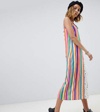 Reclaimed Vintage Inspired mixed stripe and star print slip dress