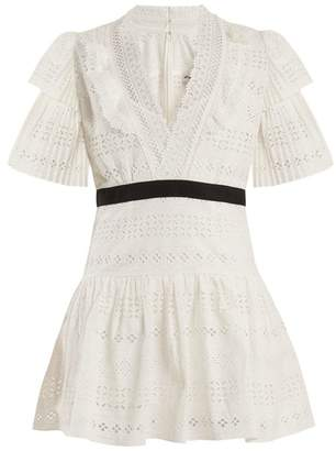 Self-portrait - Deep V Neck Broderie Anglaise Cotton Dress - Womens - White