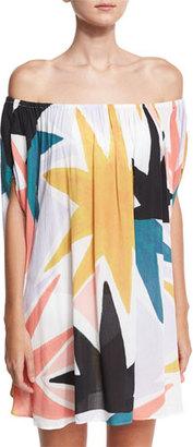 Mara Hoffman Off-the-Shoulder Dashiki Coverup, Multicolor $295 thestylecure.com
