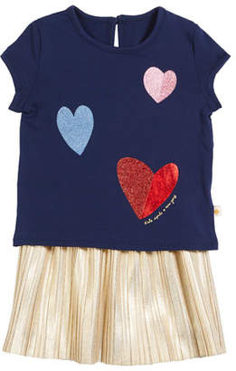 Kate Spade Tossed Hearts T-Shirt W/ Metallic Skirt Set, Size 12-24 Months