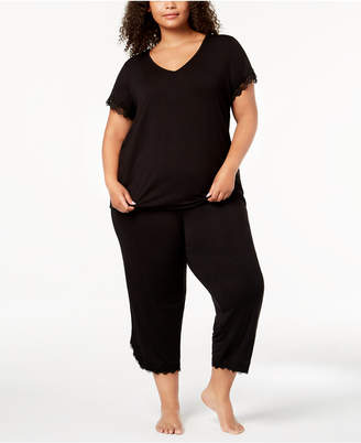 INC International Concepts I.n.c. Plus Size Lace-Trim V-Back Pajama Set, Created for Macy's