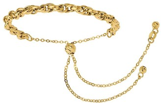 Italian Gold Loose Curb-Link Adjustable Bracelet 14K, 3.3g