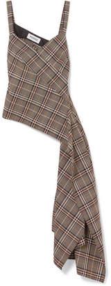 Monse Asymmetric Draped Checked Wool-blend Top - Brown