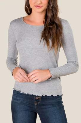 francesca's Stephanie Lettuce Edge Ribbed Tee - Heather Gray