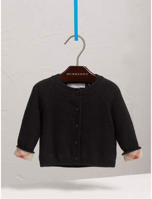Burberry Check Detail Cashmere Cardigan