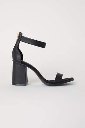 H&M Block-heeled Sandals - Black