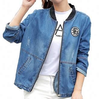 Huiwa Womens Denim Jacket Large Size Long Sleeve Plus Size Bomber Coats M2Xl Xxl