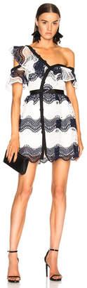 Self-Portrait Wave Guipure Frill Mini Dress