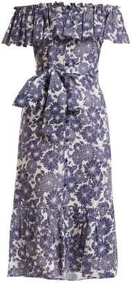 Lisa Marie Fernandez Mira Floral Print Cotton Dress - Womens - Navy Multi