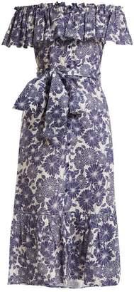 Lisa Marie Fernandez - Mira Floral Print Cotton Dress - Womens - Navy Multi