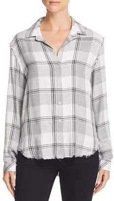 Bella Dahl Frayed Trim Plaid Button-Down Shirt