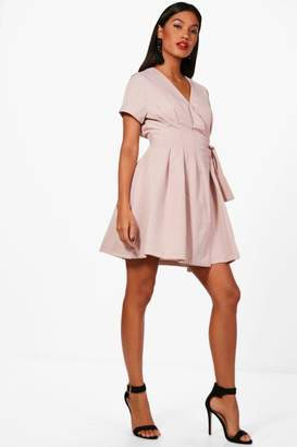 boohoo Cassie Woven Pleated Wrap Skater Dress