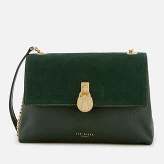 Ted Baker Women's Helena Suede Padlock Cross Body Bag - Dark Green