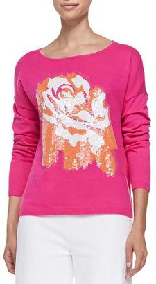 Joan Vass Sequined Floral Dolman-Sleeve Sweater, Plus Size $290 thestylecure.com