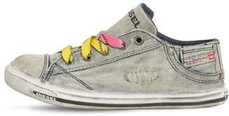 Diesel Washed Cotton Denim Sneakers