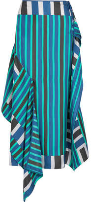 Diane von Furstenberg Striped Silk Crepe De Chine Midi Skirt - Teal