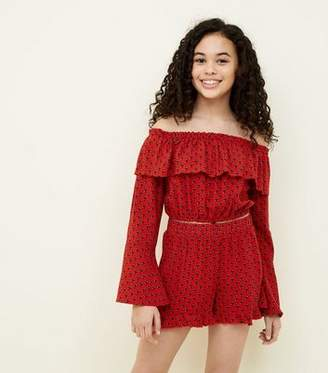 New Look Girls Red Tile Print Shorts