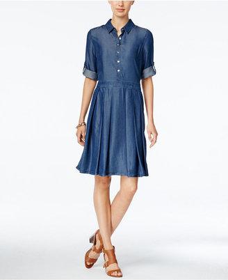 Tommy Hilfiger Pleated Denim Shirtdress $99 thestylecure.com