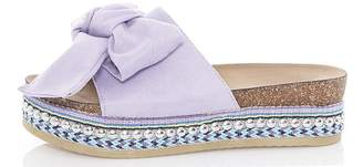 Quiz Lilac Bow Front Embellished Flatforms