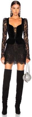 Dundas Lace & Velvet Long Sleeve Corset Mini Dress in Black | FWRD