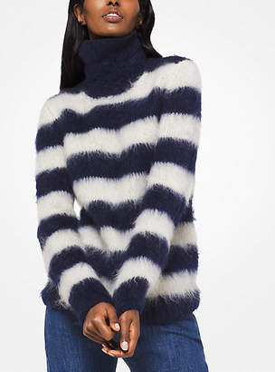 Michael Kors Striped Mohair Turtleneck