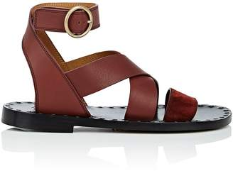 Chloé Women's Suede & Leather Ankle-Wrap Sandals