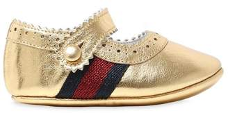 Gucci Laminated Leather Ballerina Shoes