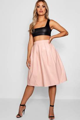 boohoo Plus Leather Look Box Pleat Midi Skirt