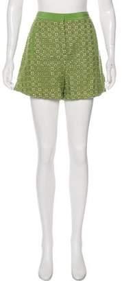 Tibi Eyelet Mini Shorts