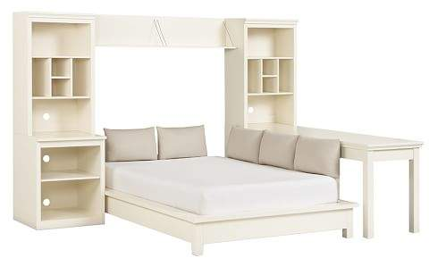 Stuff-Your-Stuff Platform Bed Super Set (Bed, Towers, Shelves + Desk), Queen, Simply White