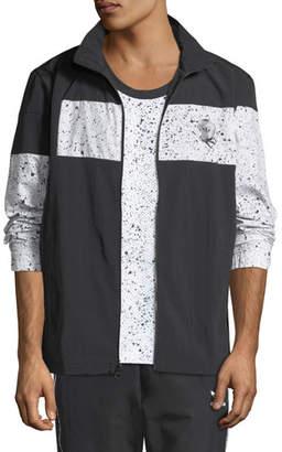 adidas Men's Speckled-Stripe Track Jacket