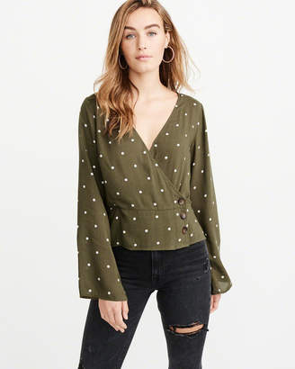 Abercrombie & Fitch Wrap-Front Button-Up Blouse