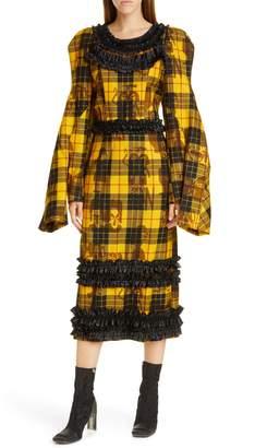 Comme des Garcons Long Sleeve Tartan Wool Midi Dress