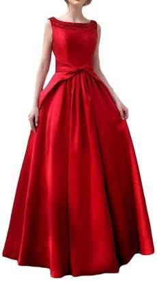 Kankanluck Womens Ball Gown Sleeveless Slim Fitted Solid Ladies Dresses M