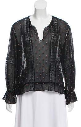 Ulla Johnson Lace-Accented Floral Top